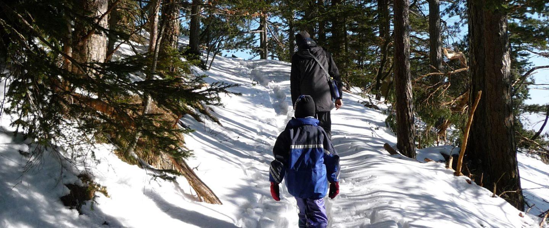 Mit den Kindern im Schnee am Grafenbergweg