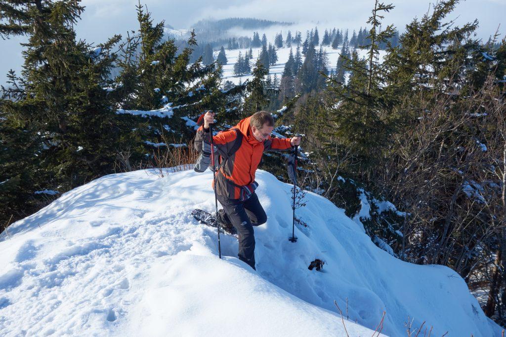 Steiler Abstieg vom Muckenkogel nach Norden.