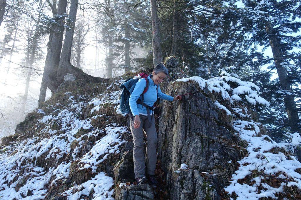 Abstieg am steilen und jetzt rutschigen Leopold Danzer-Steig