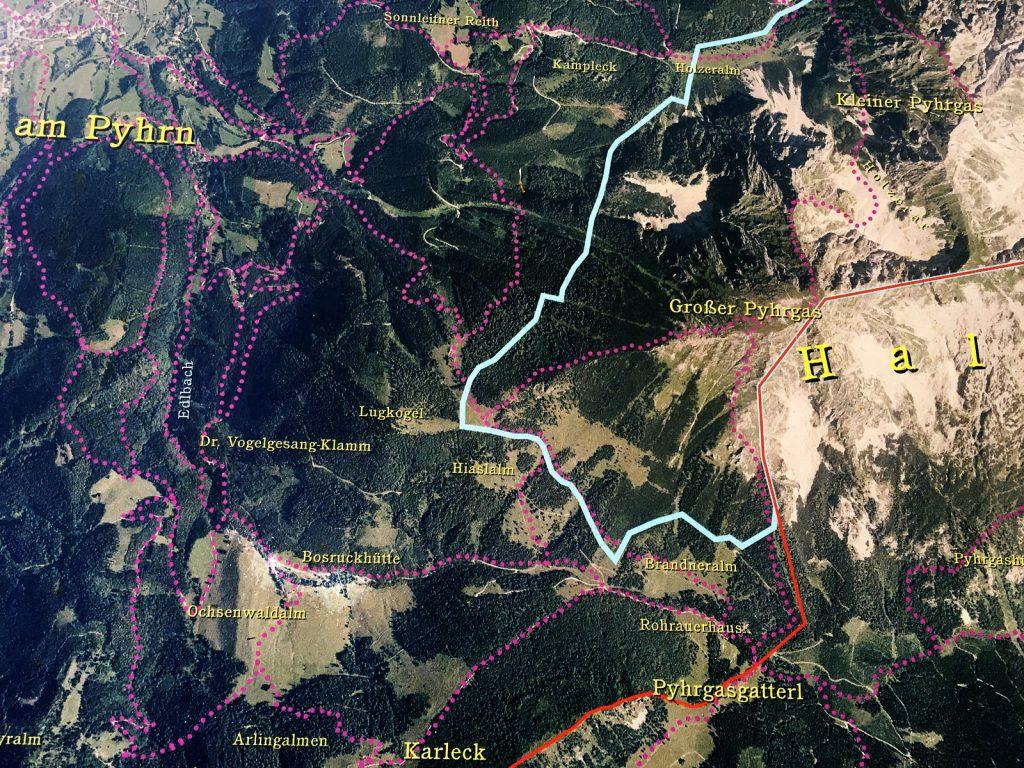 Wanderkarte auf Satellitenbild (Foto: Stefan Hochhold)