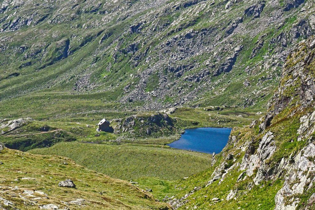 Blick vom Kaltseetörl auf die Feldnerhütte. Foto: Petra Jens