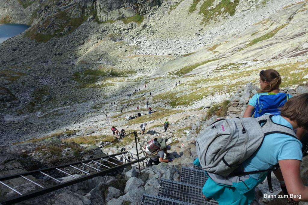 Die Kletterstelle im Abstieg
