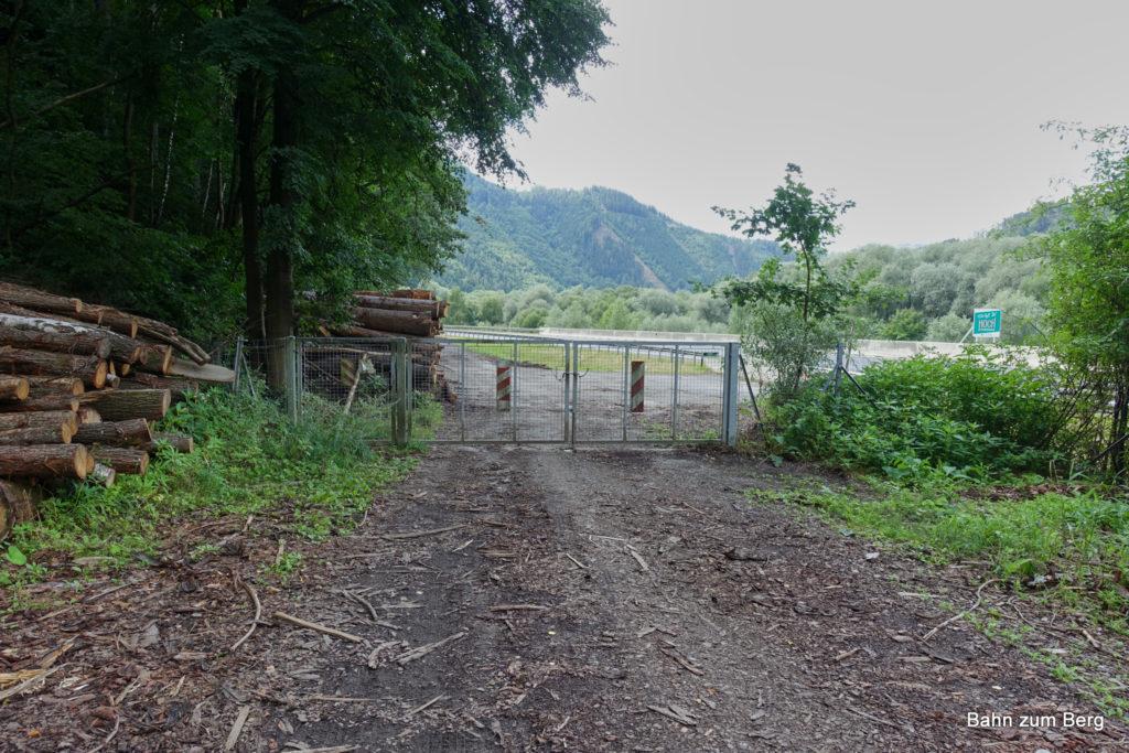 Wildtiergatter am Ende der Mountainbikestrecke