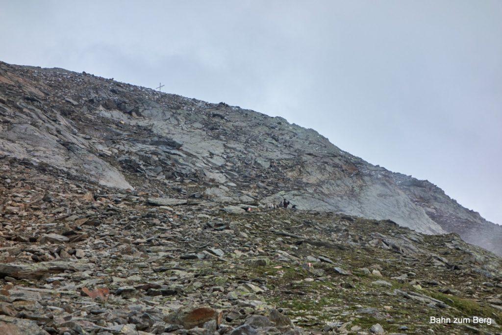 Das Gipfelkreuz schon in Sicht, kommt uns eine Ziegenherde entgegen.