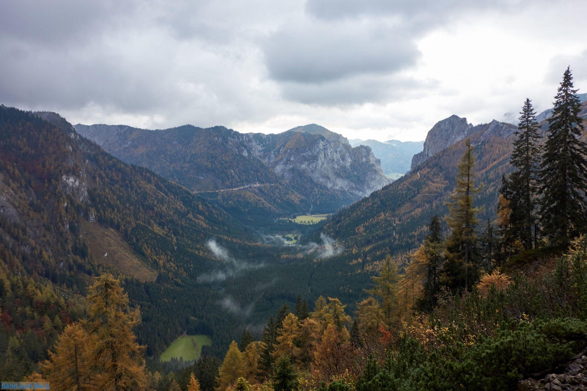 Blick vom Dr.Kotek-Steig den Jassinggraben entlang. Rechts um die Kurve ist der Grüne See.