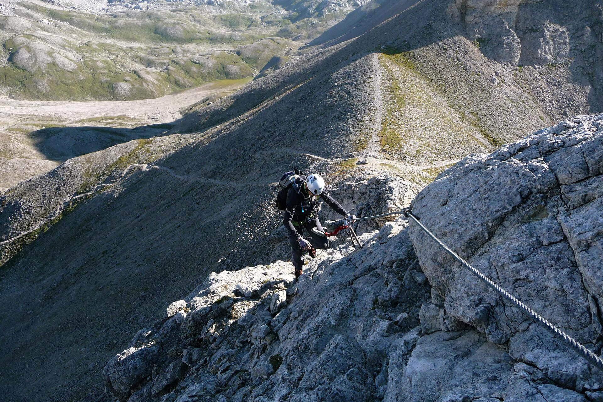 Einstieg von der Gruberscharte in den Ramsauer Klettersteig.