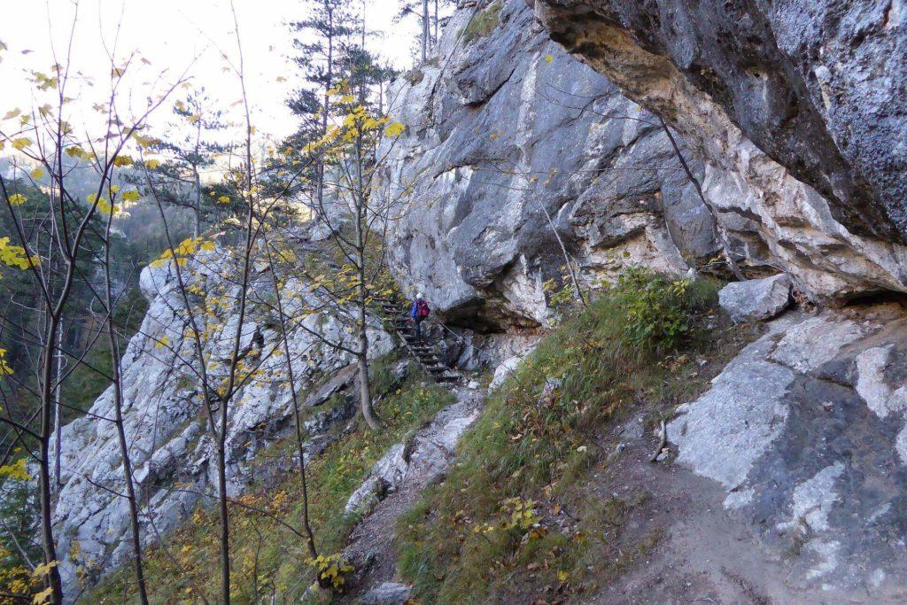 Der Weg führt an der Felswand entlang.