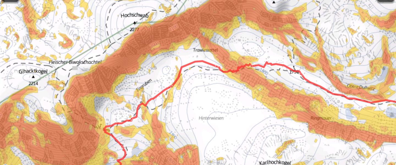 Screenshot Alpenvereinaktiv App Winterkarte mit eingeblendeten Steigungen.