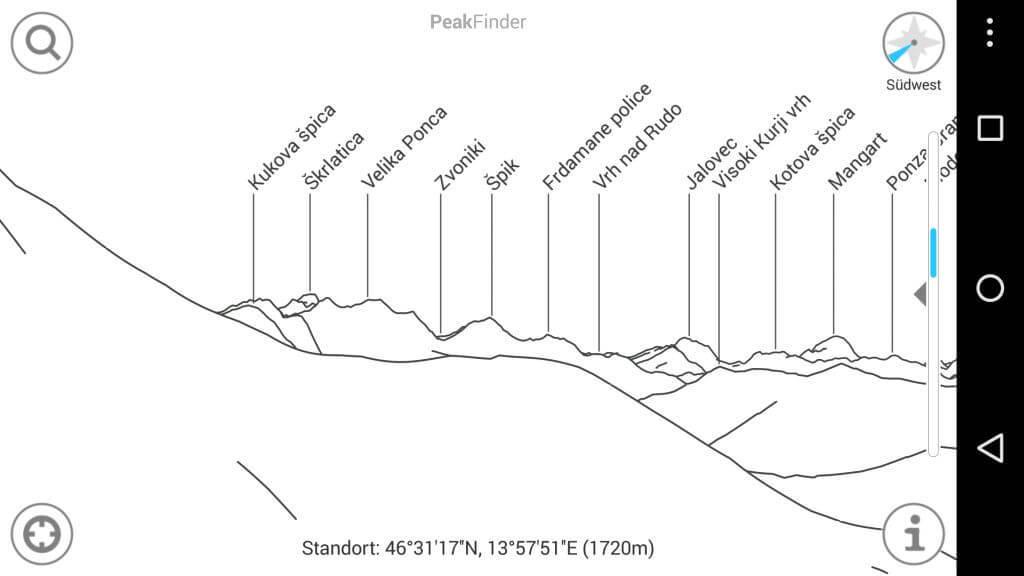Screenshot Peakfinder am Ferlacher Spitz. © 2015 MH