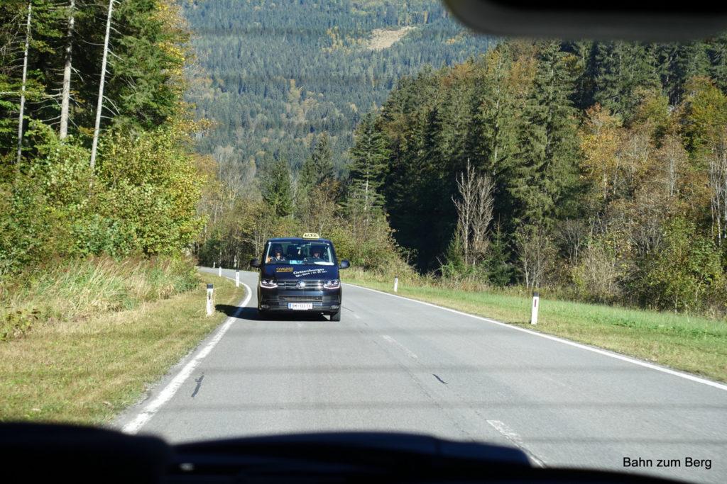 Mit dem Taxi vom Bahnhof Mariazell nach Weichselboden