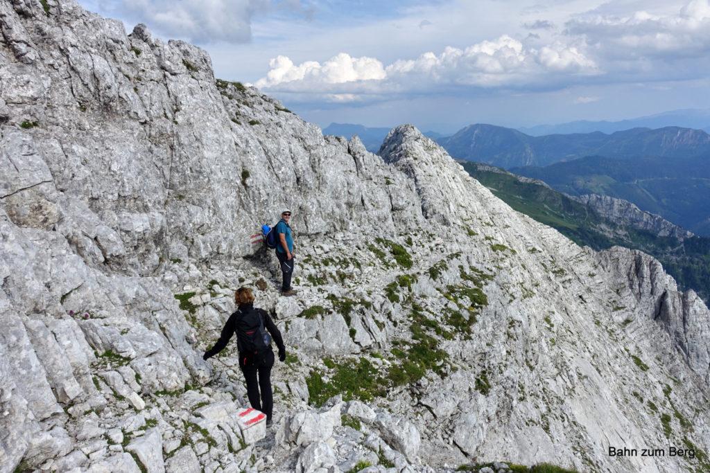 Abstieg direkt nach dem Gipfel und vor dem Guglgrat