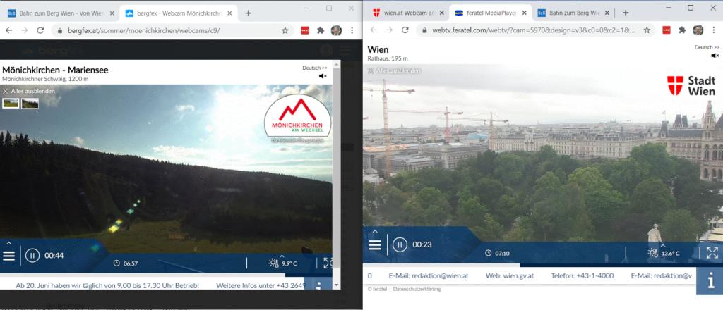Screenshot vom 18.07.2020 07:10. Links Mönichkirchen sonnig, rechts Wien im Regen. Foto: Martin Heppner