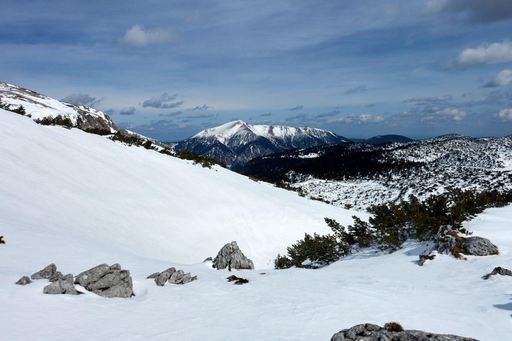 Raxschnee ungespurt und Schneeberg. Fotos Martin Heppner