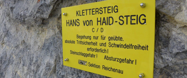Einstiegstafel Hans-von-Haid-Steig. Foto: Alpenverein Edelweiss