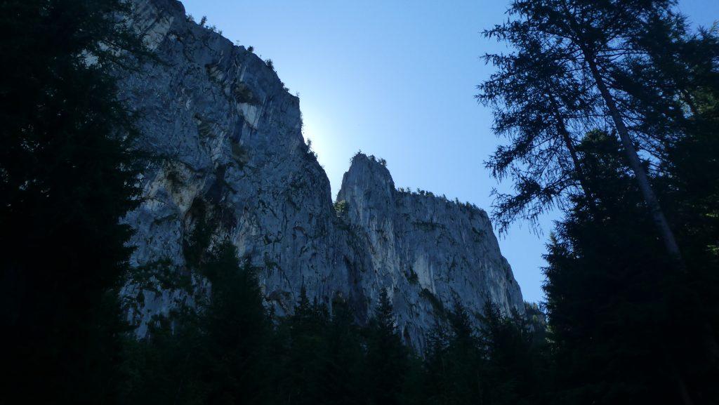 Die beeindruckenden Wände des Kühsteins aus dem Wasserfalltal gesehen. Foto: Karl Plohovich
