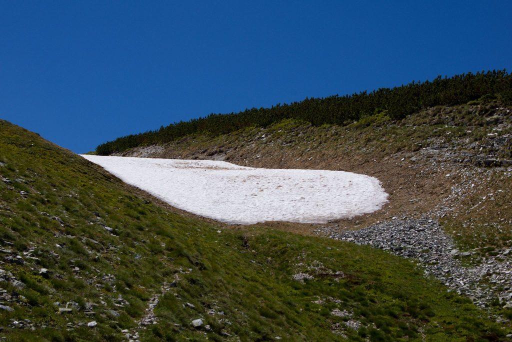 Im Juli noch ein Schneefeld… Habe es ca. 1min barfuß ausgehalten. Dann schnell wieder Socken drüber und Schuhe an. Foto: Franz Haas