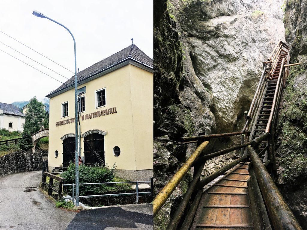 E-Werk Trattenbachfall und die Holztreppen durch die Schlucht (Fotos: Stefan Hochhold)